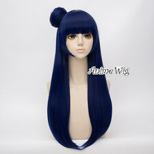 80cm Love Live Sunshine Tsushima Yoshiko Dark Blue Anime Cosplay Wig + Bun
