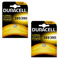 2 x Duracell 389 390 Battery 1.5v Button Coin Batteries SR1130W Silver Oxide