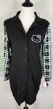 Hello Kitty by Sanrio women's button front long sleeve sleep shirt NWT Large