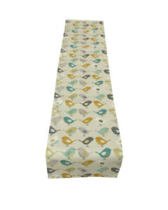 Fryetts Scandinavian Birds in Ochre Teal fully lined table/Bed runner handmade