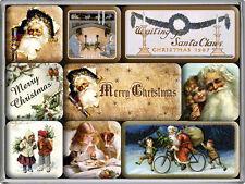 Retro 9 pc Magnet Set 'CHRISTMAS' Vintage look Xmas images Santa