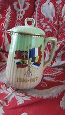 ancien pichet guerre 14 18 souvenir drapeaux alliés faience pot lait