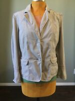 Chicos Womens Jacket Blazer Cotton Stretch Seersucker Gray Striped Size L 2