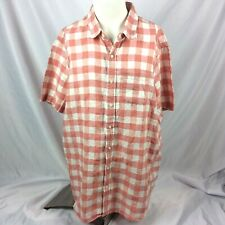 LL Bean Mens Shirt XXL Tall 2XLT Slightly Fitted Rust Red White Plaid 100% Linen