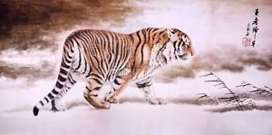 100% ORIGINAL ASIAN FINE ART CHINESE ANIMAL WATERCOLOR PAINTING-Great Tiger King