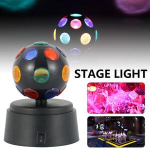 Disco Light Ball Crystal Party DJ Rotating LED Magic Stage Club Lamp Battery UK