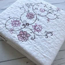 SL Quilt Suzie Queen Quilt Set floral embroidery white pink brown embroidered