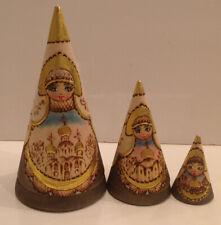 "Conical Russian Nesting Dolls 3 pcs Russia Matryoshka ""Churches"""