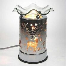Metal Electric Touch Aroma Lamp Oil Warmer Tart Wax Melts Burner Deer Snow