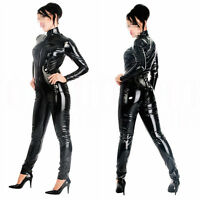 Gothic Sexy Clubwear Partywear Wet Look PVC Leather Black Catsuit Bodysuit S-XXL