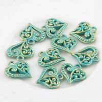 10pcs Love Heart Bronze Green Charms Bead Pendant DIY Jewelry Making 14*14mm