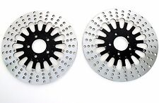 "Black Spoke 11.5"" Stainless Steel Front Rear Disc Brake Rotors Rotor Set Harley"