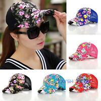 Women Floral Mesh Baseball Cap Snapback Hat Hip-Hop Adjustable Sport Golf Caps
