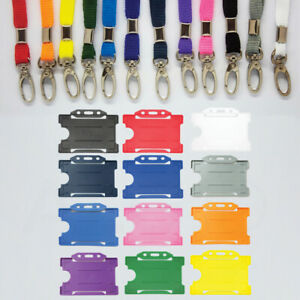 ID Card Pass Holder & Plain Coloured Neck Strap Lanyard -  Sameday UK FREEPOST