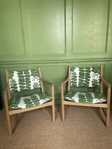 Mid-century PAIR of Model CH52 Hans J. Wegner Chairs w/ Josef Frank Fabric