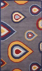 Geometric Rainy Design Modern Oriental Area Rug Wool Hand-Tufted 5x8 ft Carpet