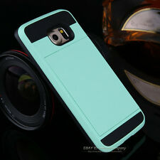Shockproof Hybrid Slim Card Wallet Hard Back Phone Case Cover For iPhone Samsung