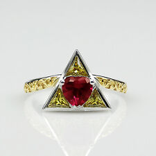 Legend of Zelda Theme Heart Cut 1ct Simulated Ruby Two Tone Engagement Ring