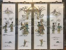 """Vintage Chinese set of 4 Wall Decorative Panels with Stones, 12"""" x 36"""" (1 Panel)"""