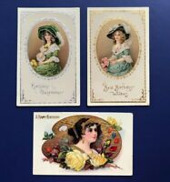 Birthday 3 Beautiful Ladies Gold Silver Trim.1900s. Collector Antique Postcards.
