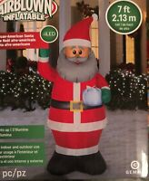 7Ft Black Santa African American Gemmy Lighted Christmas Inflatable Airblown2.13