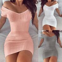 Summer Women Sexy V Neck Short Sleeve Party Clubwear Bodycon Mini Dress Plain UK
