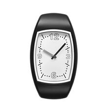 Retro Analogue Watch Style Black Oval Wall Clock Plastic Home Office Decor New