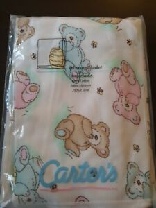 NWT Carters Pastel Teddy Bear Bees Baby Blanket Blue Pink Cotton Security VTG