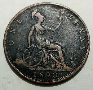 1890 Britain 🇬🇧 1 Penny NICE DETAIL Queen Victoria British Historic Antique 1d