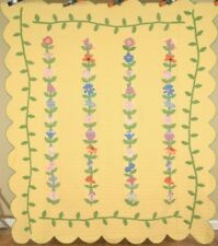 BEAUTIFUL Vintage 30's Floral Antique Quilt, NICE VINE BORDER & CHEERY YELLOW!
