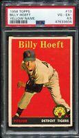 1958 Topps Baseball #13 BILLY HOEFT Detroit Tigers Yellow Name PSA 4.5 VG-EX+