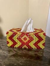 Handmade Crystal Red Yellow Tissue Box Cover