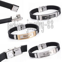 Men's Black Punk Stainless Steel Rubber Wristband Clasp Cuff Bangle Bracelet