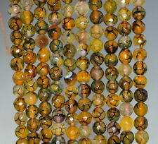 """6MM FIREWORKS FIRE CRACKLE AGATE GEMSTONE YELLOW FACETED ROUND LOOSE BEADS 14.5"""""""