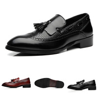 Brogue Mens Dress Formal Leather Shoes Wing Tip Tassels Pointy Toe Slip on Party