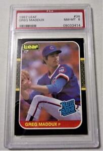 1987 Leaf Greg Maddux ROOKIE RC #36 PSA 8 Nr MINT