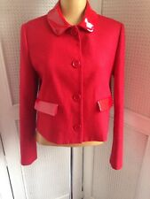 LOVE MOSCHINO New Designer Wool  Red Jacket Stunning Contemporary Design Sz10-12