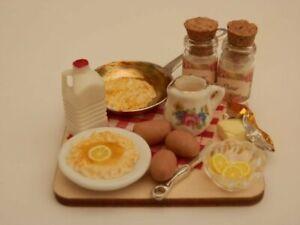 Dolls house food: Making pancakes   prep board  -By Fran