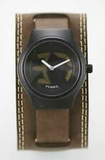 Fossil Watch Mens Big Tic Leather Brown Water Resist 50m Stainless Black Quartz