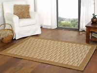 Florence Raffles Natural Beige Hardwearing Flatweave Rug in various sizes