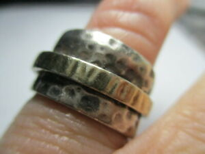 STERLING SILVER ESTATE VINTAGE SILPADA 2 TONE DIMPLED SPINNER BAND RING SIZE 7