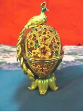 Collectible Karshi egg style Faberge trinket box,crystal,enamel work,gikden