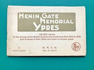 WW1 Ypres Salient Menin Gate Memorial Cemetery 10 Postcard Set in Booklet