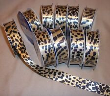 "10 Rolls  SINGLE FACE SATIN LEOPARD RIBBON  7/8"" W  8 ft. P/R"
