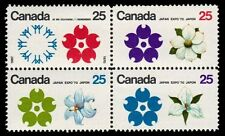 """CANADA 511a - Expo'70 """"Flowers"""" Block (pa64996)"""