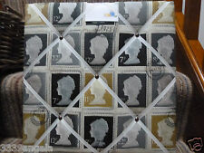 """16"""" NEW Funky Vintage Retro Shabby Black Stamp Fabric Message Memo Notice Board"""