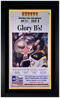 """Boston Bruins 2011 Stanley Cup Champions """"Glory B's"""" Newspaper Matted & Framed!"""