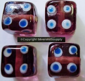 EVIL EYE Protection 4 Purple transparent art glass lampwork square beads  GBS021