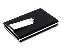 RFID Blocking Money Clip Credit Card Holder mens Designer Wallet Metal Leather