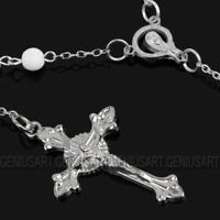 Fashion White Rosary Beads Pearls Cross Pendant Long Beaded Necklace Chain New